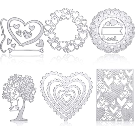 MEIISI Heart Frame Metal Cutting Dies Christmas Birthday Wedding Stencils Scrapbooking for DIY Craft Paper Card Making Album Decorative