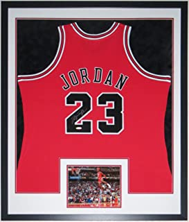 Michael Jordan Signed Authentic Mitchell and Ness Chicago Bulls Jersey - Upper Deck Authenticated UDA COA - Professionally Framed with 1988 Slam Dunk Contest 8x10 Photo 34x42