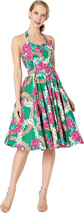 a34f3afe012 Unique Vintage x Alfred Shaheen Mala Pua Hibiscus Lei Print Swing Dress