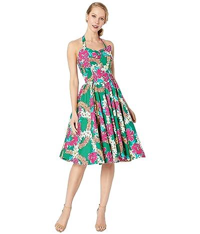 Unique Vintage Unique Vintage x Alfred Shaheen Mala Pua Hibiscus Lei Print Swing Dress (Green/Pink) Women