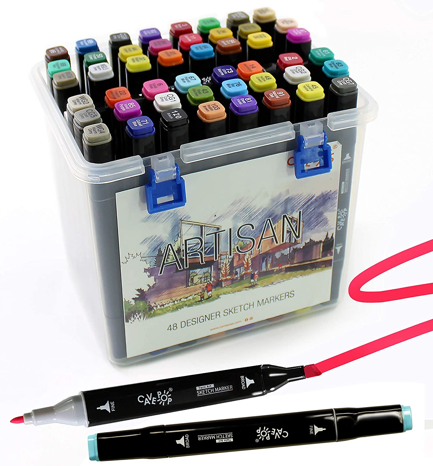 48 Colors New Orleans Mall Dual Tip Alcohol Based a Now free shipping Sketch Fine Point Set Markers
