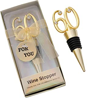 WeddParty 12 pcs 60th Wine Bottle Stopper Anniversary Favor Birthday Party Decoration Party Table Decor Wedding Favors for Guests, 60 Golden Wedding Anniversary Birthday Bride Shower Party Gift