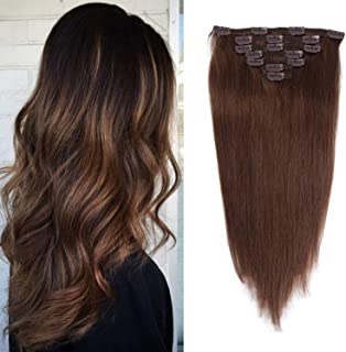 16 inches Clip in hair Extensions Remy Human Hair - 70g 7pcs 16 Clips Straight Thick 100% Real Human Hair Extensions for Women Medium Brown #4 Color
