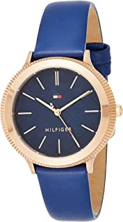 Tommy Hilfiger Women's Quartz Watch, Analog Display and Leather Strap 1781860, Blue Band