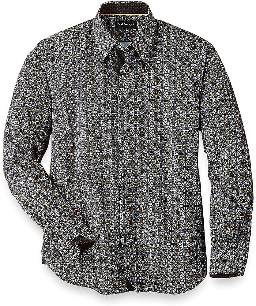Paul Fredrick Men's Easy Care Cotton Blend Medallion Casual Shirt