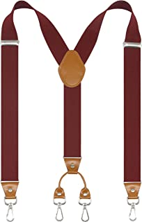 Cedrainy Men's Suspender Wide Adjustable and Elastic Braces Y Shape with Very Strong Hooks - Heavy Duty