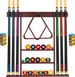 Billiards Xpress Pool Cue Rack - Pool Stick Holder Wall Mount With 16 Ball Holders & 6 Pack Of Chalk - Rubber Circle Pads...