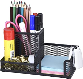 Comix Organiseur de bureau en métal grillagé avec Pot à Stylo, Range Stylo Bureau, Porte Crayon Bureau, Rangement Métalliq...