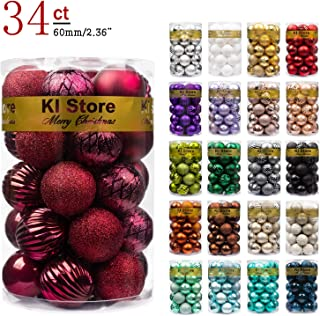 KI Store Christmas Balls Burgundy Shatterproof Christmas Tree Ball Ornaments Decorations 2.36-Inch Set of 34 for Xmas Trees Wedding Party Home Decor