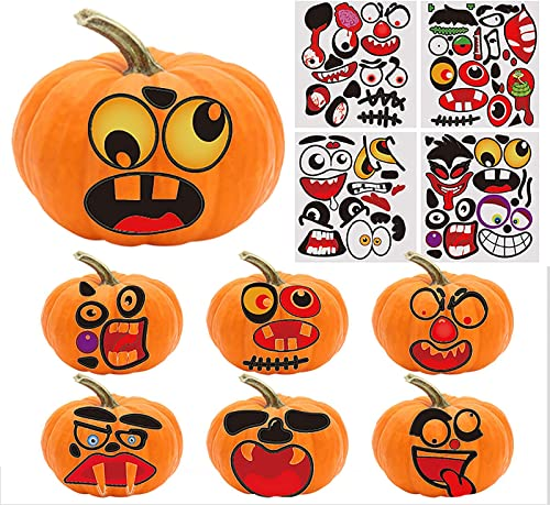 popular Halloween Pumpkin Face Stickers - Vivid Halloween Pumpkin Decorative Stickers Jack O popular Lantern Pumpkin Stickers discount for Kids, Halloween Party Favors, 4 Sheet (Style A) online