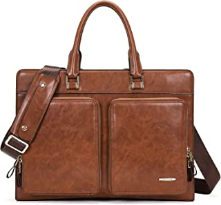 BOSTANTEN Leather Briefcase Slim Laptop Business Vintage Messenger Bags for Men & Women (Brown)