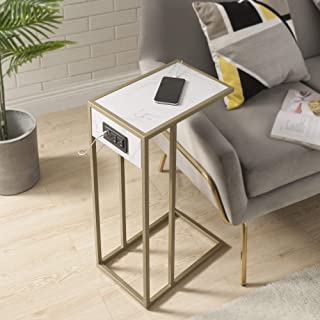 Loft Lyfe Clement End Table - 2 USB Charging Ports, 2 Outlets, Power Plug | White/Gold