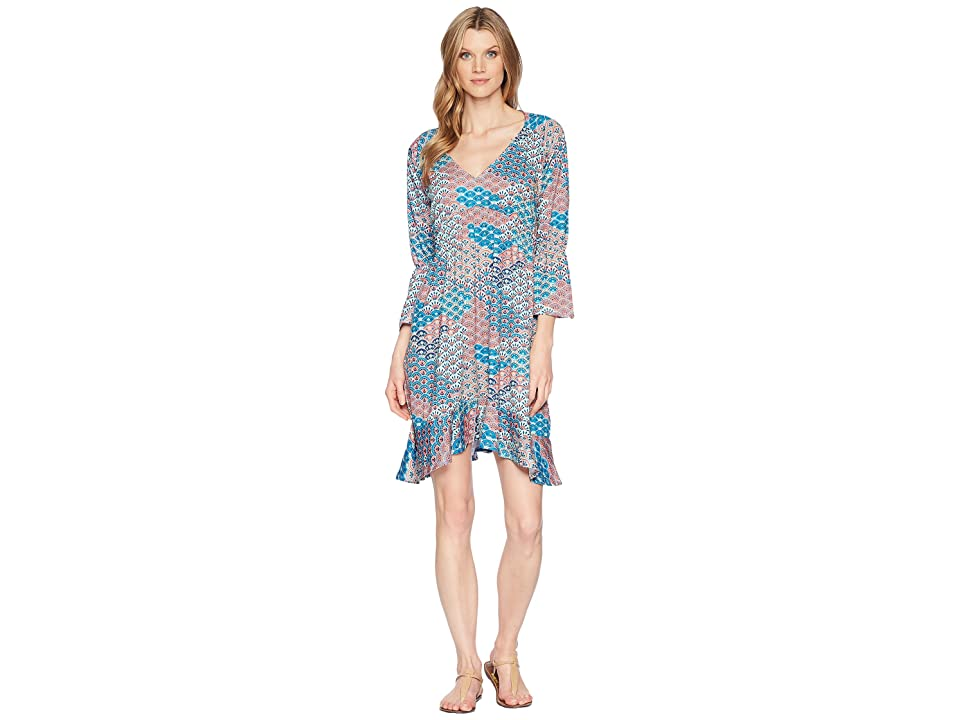 Roper 1575 Multi Fan Print Ity Jersey Dress (Blue) Women