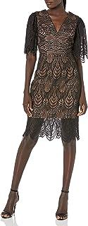 Dress the Population womens MIA LACE FLUTTER SLEEVE PLUNGING MIDI SHEATH DRESS Dress