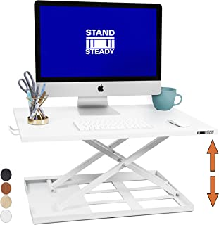 Standing Desk X-Elite - Stand Steady Standing Desk | X-Elite Pro Version, Instantly Convert Any Desk into a Sit/Stand up Desk, Height-Adjustable, Fully Assembled Desk Converter (White) (28 inch)