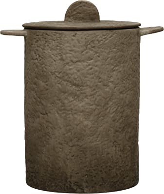 Creative Co-Op Textured Terra-Cotta Lid, Matte Beige Jar