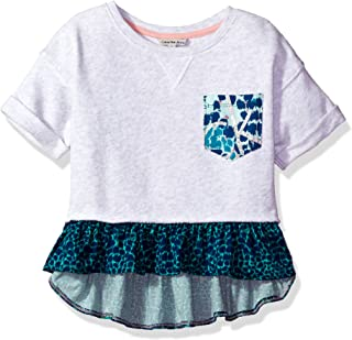 Calvin Klein 女童印花口袋剪裁运动衫