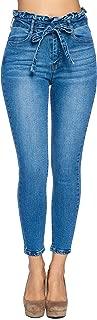 Womens Paper Bag High Waist with Self Tie Belt Denim Skinny Jean Pants
