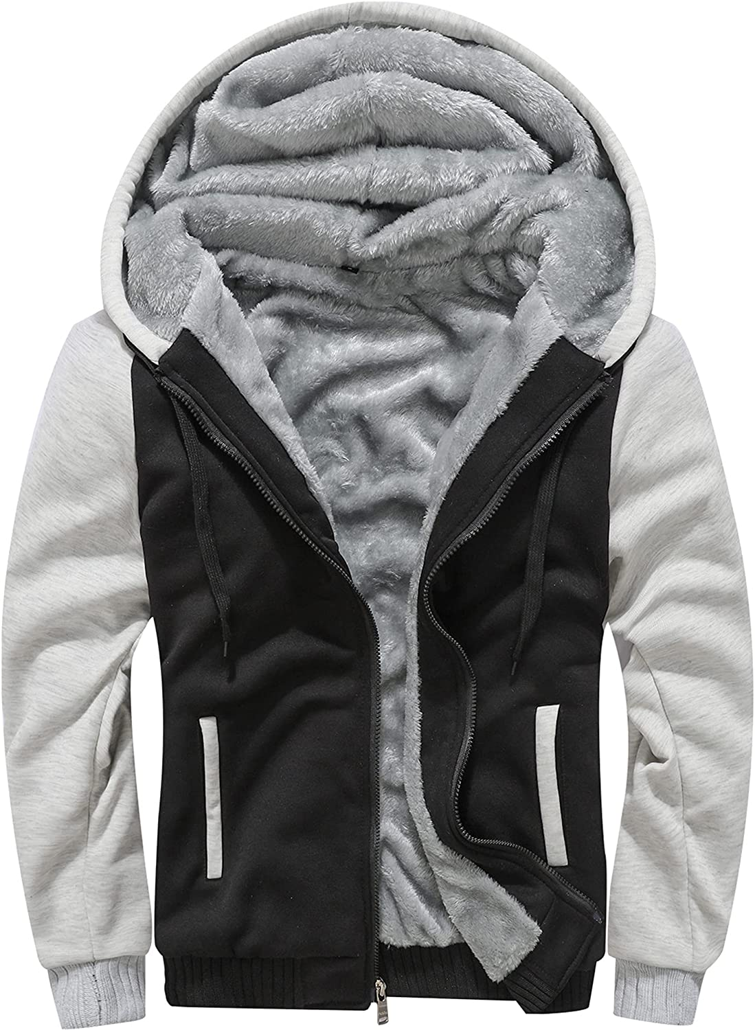 MACHLAB Men's Winter Pullover Thermal Fleece Hoodies Warm Thick Wool Coats Track Jackets Outerwear