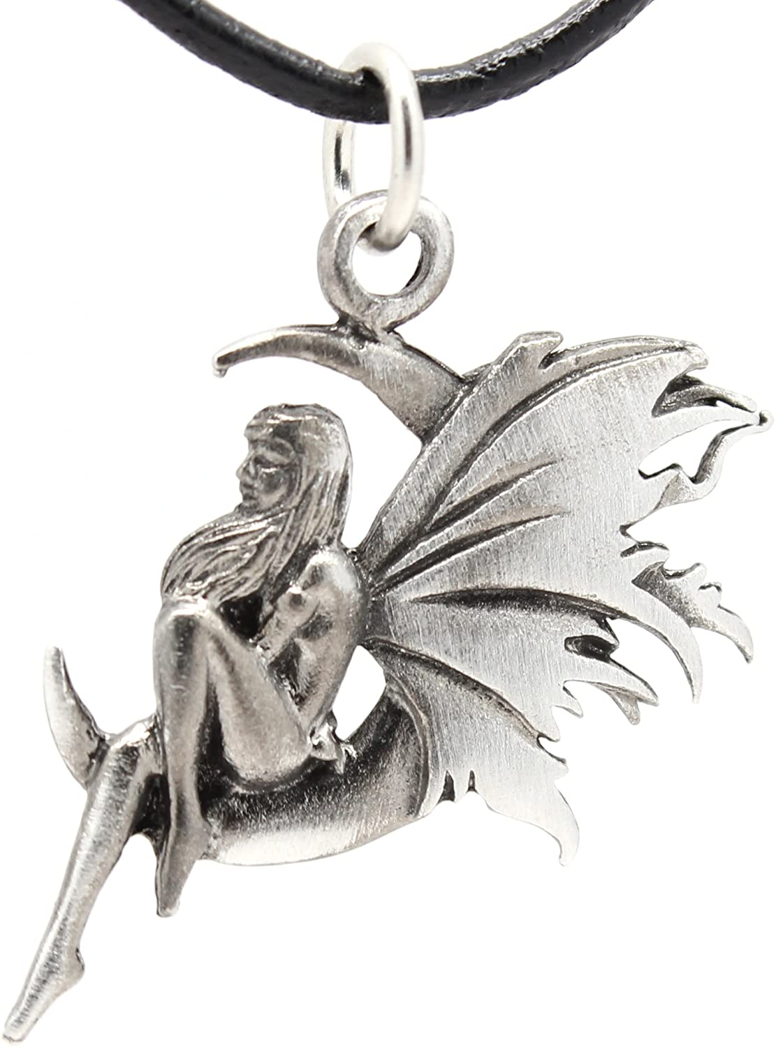 Trilogy Jewelry Pewter Fairy Celestial Crescent Moon Pendant on Black Necklace Cord with Clasp