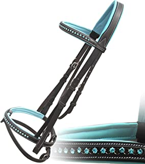 Exion Blue Round Ring Diamond Leather Bridle with PP Rubber Grip Reins and Stainless Steel Buckles | Equestrian Show Jumping Padded Bridle Set | English Horse Riding Premium Tack | Havana | Horse