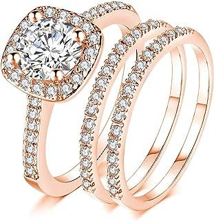 Ahloe مجوهرات فضة روز الذهب خواتم الزفاف للنساء خاتم الخطوبة الزفاف مجموعة اثنين من العصابات هالو جولة 2.0Ct Cz حجم 5-10
