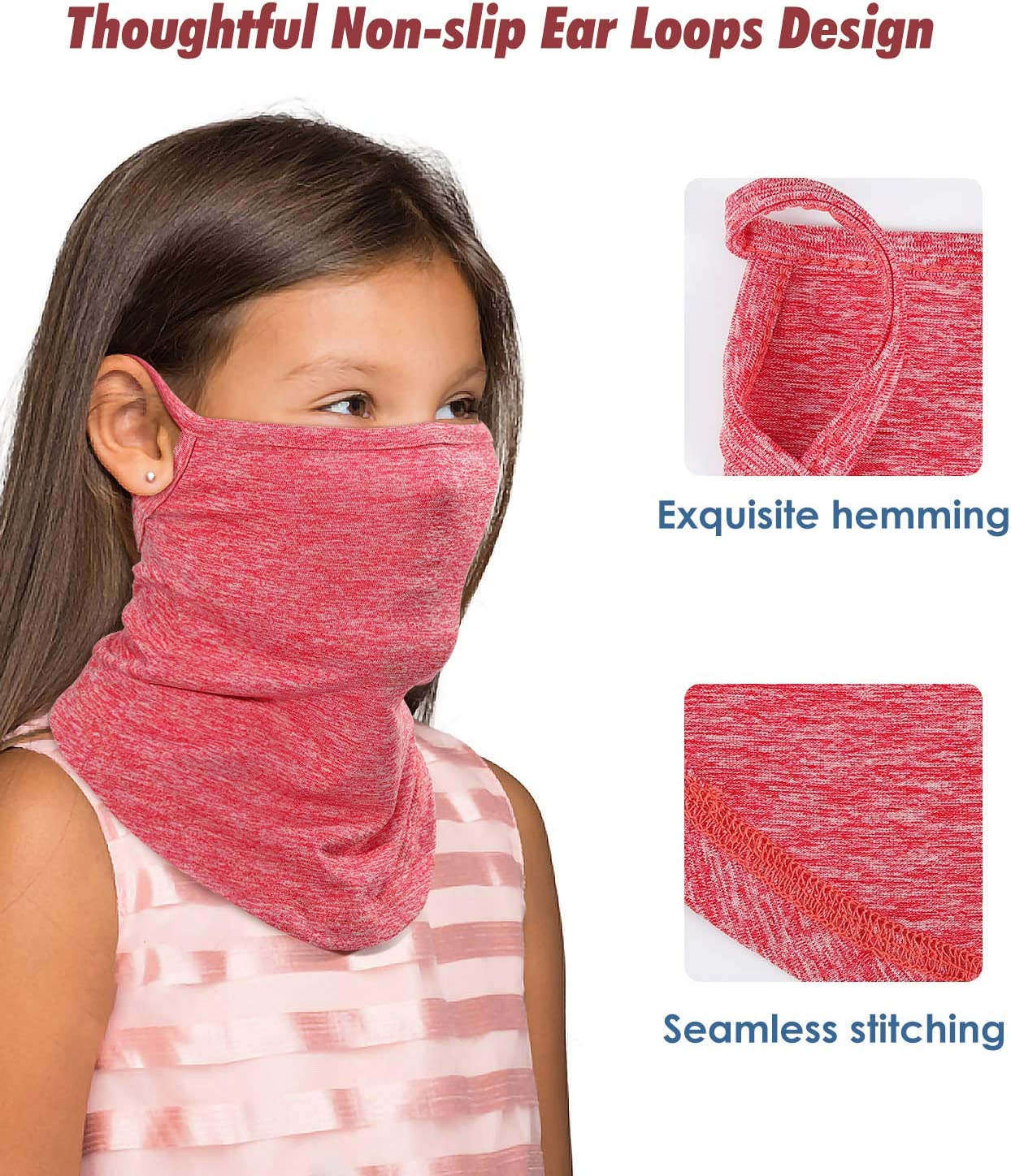 Rhino Valley Face Bandana for Kids, Face Cover Neck Gaiter with Ear Loops,Summer Outdoor Sport Sun Protection Breathable Headband Face Scarf Bandanas for Boys and Girls 3 Pack