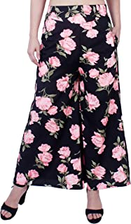 Fraulein Women's/Girls Palazzos Black Pink Floral Printed Soft Crepe Flared Bottom Trendy and Stylish Palazzos with One Po...