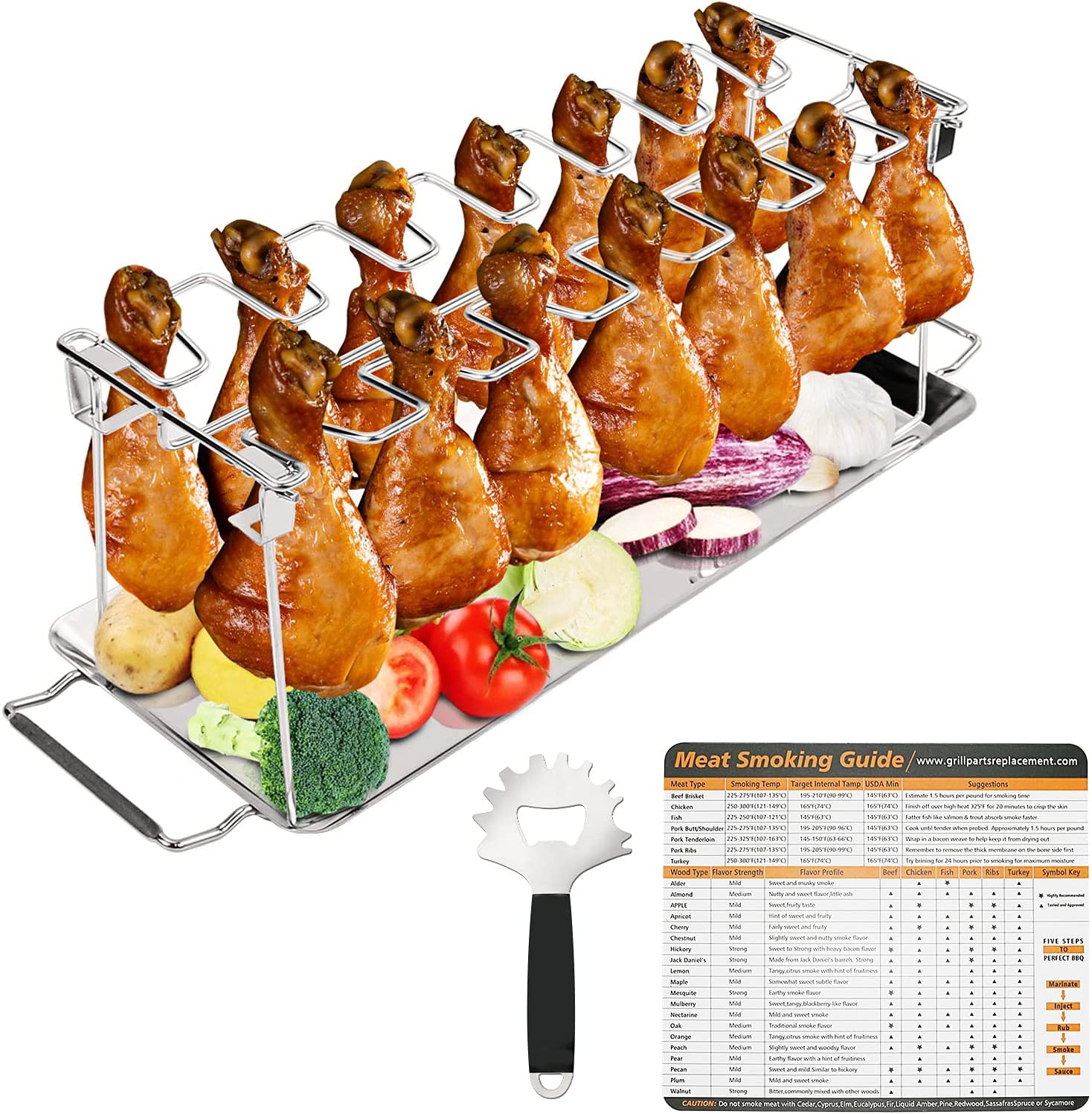 GRISUN Chicken Leg Wing Rack, 14 Slots Roaster Stand Chicken Leg Holder Stainless Steel Drip Pan with Grill Scraper Tool and Magnetic Meat Smoking Guide Smoker Accessories for Grill or Oven