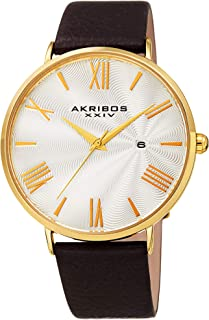 Akribos XXIV Men's Watch AK1041– Crocodile Embossed or Smooth Genuine Leather Band – Classic Round Case, Roman Numeral Markers, Guilloche Dial