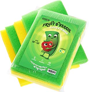 4-Set Fruit & Veggie Life Extender - 16x12 Inch - Foam Fridge Shelf Mat & Refrigerator Drawers Liner - Washable Pads - Extends Life of Produce & Prevents Spoilage - Keeps Food Fresh & Crispy