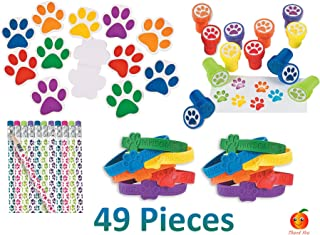 Paw Patrol Party Favor Set for 12, Paw Print Notepads, Paw Print Bracelets, Paw Print Stampers