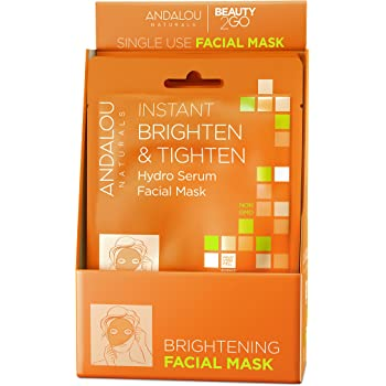 Andalou Naturals Instant Brighten & Tighten Hydro Serum Facial Mask, Single Face Mask, 0.6 Ounce (Pack of 6)
