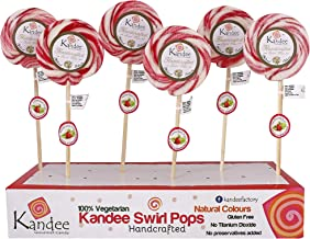 Kandee Swirl Pops Classic Strawberry Round Candy Lollipop (3Inch) - Pack of 6