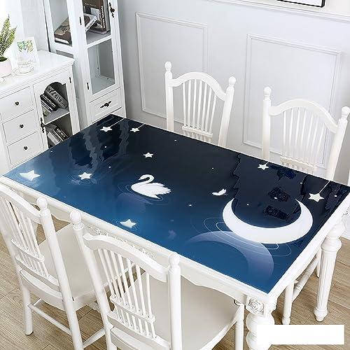WAYMX Nappes PVC en Verre Souple Tapis Imperméable Style Européen Rectangulaire Table Basse Tapis Colle étoiles Lune Lotus étang Nappe Epaisseur 1mm, 90  160cm
