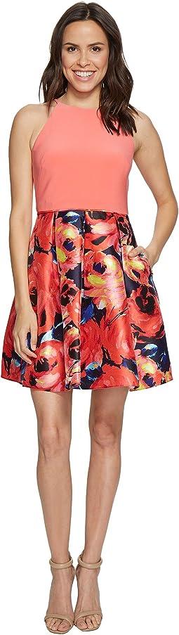 Jersey Halter Mikado Print Cocktail Dress