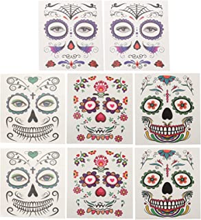 Beaupretty 8 Vellen Halloween Facial Stickers Dag De Dode Tijdelijke Tattoos Halloween Party Decals Voor Partij Kostuum Ma...