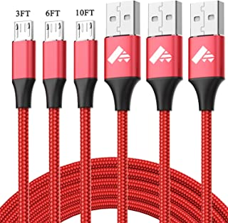 Micro USB Cable Aioneus Fast Charging Cord Android Charger 10FT 6FT 3FT 3-Pack Charging Cable Nylon Cable Charger Cord Compatible with Samsung Galaxy S7 S6 S5 J7 J5 J3, LG G4, HTC, Nokia, Tablet, PS4