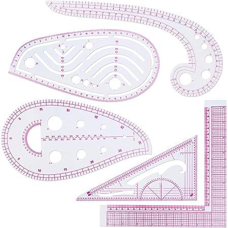 OFNMY 8Pcs Clothing Fashion Ruler Set-6 Styles Curve Pattern Grading Ruler French Metric Ruler Multipurpose Cutting Ruler Measure Ruler Set for DIY Sewing Dressmaking Pattern Design,with Chalks