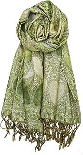 Achillea 女式佩斯利图案闪耀金属羊绒披肩围巾披肩