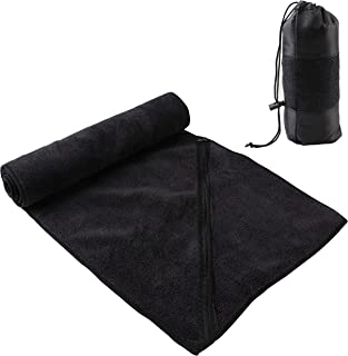 MIABOO Microfiber Quick Dry Travel Towel (12x43inch,1Pack), Multi-Purpose Ultra Absorbent Sports Towel with Zipper Pocket Perfect for Workout Car Camping Gym Beach Yoga Golf,Carry Bag Included