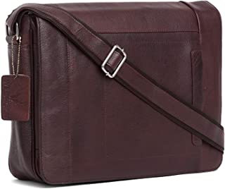 Wildhorn Genuine Leather Hand-Crafted Messenger Bags, Brown, 35 cm - WHMB523