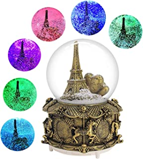 DELIWAY Eiffel Tower Musical Snow Globe with Automatic Snowfall and Colorful Lights, 100mm 6