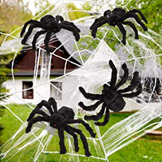 4 Pieces Halloween Fake Spiders with Giant Spider Web Stretch Cobweb Decoration for Halloween Party Costume Props
