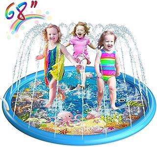 "Homga Splash Pad, 68"" Sprinkler for Kids Outdoor Sprinkler Pad Mat for Infants Toddlers-Inflatable Baby Swimming Pool Backyard Play Mat for 1-12 Years Old Girls Boys (01-Sprinkler Pad)"