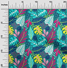 oneOone Cotton Cambric Teal Green Fabric Leaves Craft Projects Decor Fabric Printed by The Yard 42 Inch Wide