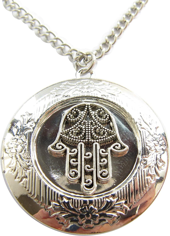 Hamsa Locket Necklace Soldering Genuine Ancient of F Silver Hand