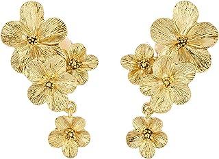 Oscar de la Renta Double Flower Drop Earrings