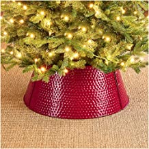 """glitzhome 22"""" D Red Hammered Metal Tree Collar Tree Base Cover Decorative Christmas Tree Ring for Christmas Decoration"""
