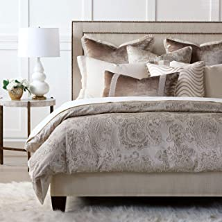 Eastern Accents Helena Luxury Taupe Glam Velvet Neutral Jacquard Metallic King, 8 Piece Bed Set